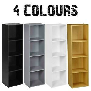 4 Tier Cube Bookcase Display Shelving Storage Unit Wooden Furniture Wall Shelf