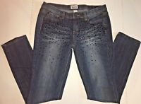 Juniors Women Mudd Stretch Straight Leg Jeans Size 11 Studded Dark Blue EUC