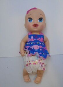 """Baby Alive Baby Doll  Blonde Molded Hair Pink Bow Girl 2014  12"""" wets diapers"""