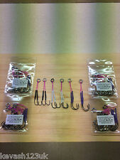 6 x Double Assist Hooks.2X3/0,2X2/0 & 2X1/0.High Visability.Hand Made in the UK.