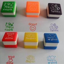 6pcs School Teacher Family Stamper Sticker Self-Inking Praise Reward Stamps CB