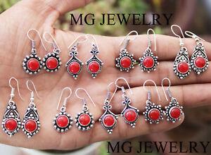 Huge Sale !! 10 Pairs Lot Carnelian Gemstone 925 Silver Plated Earrings