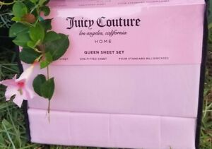 Brand New JUICY COUTURE Queen Sheet Set w/ 4 pillow cases. Gorgeous blush pink.