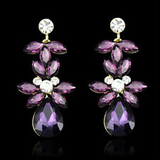 Amethyst Wedding Prom Flower Teardrop Diamante Crystal Bridal Dangle Earrings