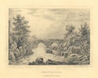 Bridge at Pont-y-Pair, Betws-y-coed, Wales – Early 19th-century graphite drawing