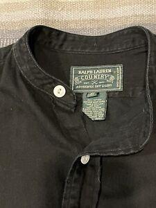 Pre RRL - Vintage Polo Country Ralph Lauren Black Band Collar Work shirt- Small