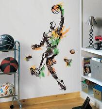 """BASKETBALL PLAYER wall sticker MURAL 10 decals 52"""" men's boy's sports decor ball"""