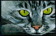 ACEO Limited Edition - Black cat, Art print of an original ACEO oil painting