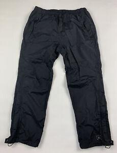 REI Mens Waterproof Rainwall Pants L 30L Black Nylon Rain Snow Zipped Pockets