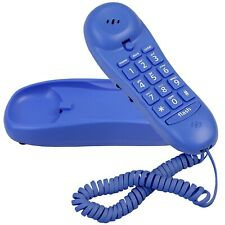 Blue Donuts BD-016BLUE-Slimline Blue Colored Phone For Wall Or Desk With Memory