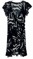 Caroline Morgan Womens Black/White Crossover Short Sleeve Dress Size 10