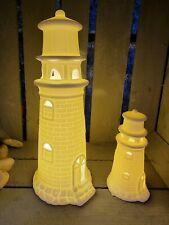 Edler Leuchtturm 26/13cm LED Licht Porzellan Weiß Matt Maritime Deko Schiff