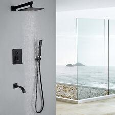 Black Shower Faucet Set Square 8 Inch Rainfall Shower Head W/ Hand Shower Brass