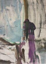 Claude BURET née en 1926.L'homme et la Tourmente.Huile/soie.SBD.40x30.