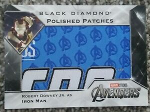 Robert Downey Jr. As Iron Man Polished Patches 2021 UD Marvel Black Diamond