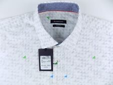 $179 NWT Bugatchi Shaped Fit Long Sleeve Woven Shirt White Size-XL