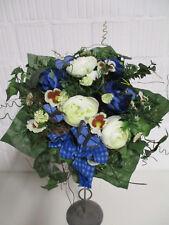Künstlicher Deko Strauß blau Seidenblumen künstlich Tischdeko Blumen wie echt