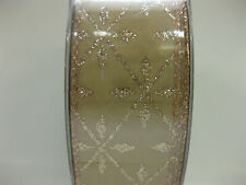 """Holiday  Ribbon  1.5"""" X 50  Yd Gold Glitter  NEW   Members Mark Premium Wired"""