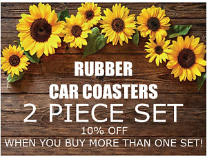 RUBBER CAR COASTER - 2 PIECE SET - OVER 20 DESIGNS TO CHOOSE FROM - PICK YOURS