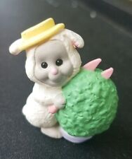 Vintage 1992 Hallmark Merry Miniatures Bunny Rabbit Bush Lamb Qsm8112 Spring