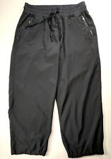 Fabletics Black Athletic Elastic Waist and Hems Drawstring Crop Pants Size Small