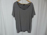 Cynthia Rowley Women's Striped Scoop Neck Short Sleeve Tee Shirt Casual Size 2X