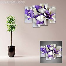 White And Dark Purple Flower Wall Art Painting Picture Print Canvas Modern Decor