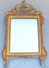 """24"""" Late 19th Century Louis XVI Gilded Painted Grey Patina Mirror with Pediment"""