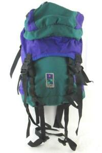 Mei Hiking Full Size Backpack Canvas Purple Green Blue 80's Style