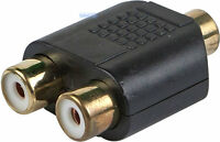 RCA Phono Y Cable Splitter 1 to 2 Converter Female Socket Audio Adapter GOLD