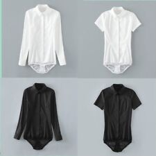 Lady Bodysuit Shirt Work Blouse Button Down Short Long Sleeves Tops Cotton Solid