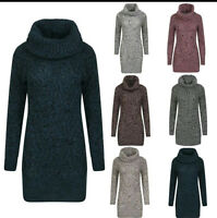 NEW LADIES CABLE KNITTED LONG SLEEVE POLO COWL NECK JUMPER DRESS