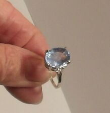 Certified Natural 8.45ct Greenish Blue Aquamarine Oval Ring Sterling Size 8
