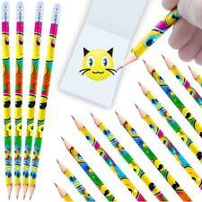German Trendseller® - 6 x Smiley - Party - Bleistifte mit Radierer   NEU
