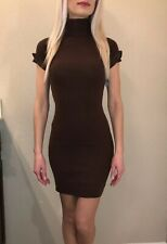 NWT Poof Brown Short Sleve Sweater Dress Small Turtleneck Stretchy Women's