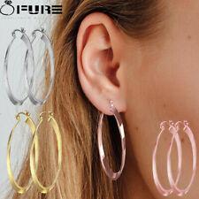 Fashionable 14k Rose Gold 925 Sterling Silver Plated Hoop Dangle Drop Earrings