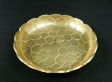 "Vintage Brass Dish Bowl 5.75"" Honeycomb Scalloped Edge Made in India"
