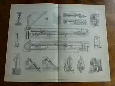 1874 incisione-Idraulica-Gru, premere con covoni per Gru Acqua