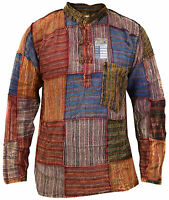 Patchwork Light Cotton Grandad Casual Lounge Summer Hippie Boho Kurta Shirt Top