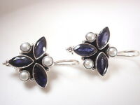 Faceted Blue Iolite and Cultured Pearl 925 Sterling Silver Wire Back Earrings