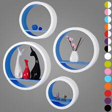 Étagère murale ronde en MDF étagère CD DVD murale Blanc Bleu Foncé FRG9231dbl