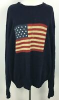 VTG 90s Polo Ralph Lauren Iconic Dark Blue American Flag Cotton Sweater Mens XL