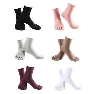 Comfy Five Finger Toe Socks Cotton Crew Socks Athletic Causal Solid Socks