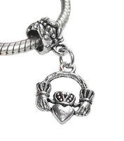 Claddagh Heart Love Loyalty Friendship Dangle Bead for European Charm Bracelet