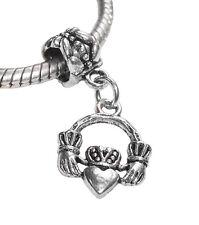 Claddagh Heart Love Loyalty Friendship Dangle Bead for European Charm Bracelet