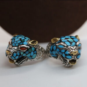 Men's Real Solid 925 Sterling Silver Ring Leopard Head Open Size 8 9 10 11