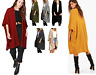 Ladies Women Ribbed Pocket Knitted Oversize Baggy Long Jumper Cape Cardigan Top