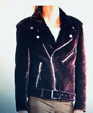New with Tag ETRO $ 4235. Woman's Velvet Matelasse Waist Belt Biker Jacket IT 44