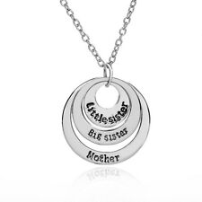 Women Silver Plated Mother Sister Family Three Round Pendant Necklace