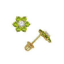 14K Solid Yellow Gold Peridot Flower Cluster Child Stud Earrings Screw Back 6mm